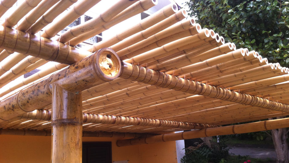 P rgola con vistas bambusa estudio - Pergolas de bambu ...