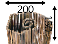 Rollos de Bambú Ø25 - 200cm - 150-cm - black